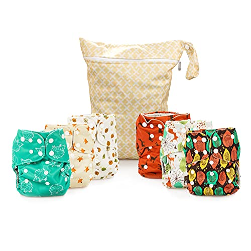 Simple Being Reusable Cloth Diapers, Double Gusset, One Size Adjustable, Washable Soft Absorbent, Waterproof Cover, Eco-Friendly Unisex Baby Girl Boy, six 4-Layers Microfiber Inserts (Forest)