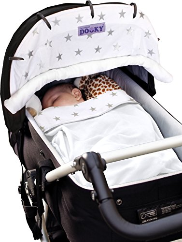 Dooky Blanket (Silver Stars) Dooky A universal and multifunctional blanket Made from 100% luxurious breathable cotton Perfect for any car seats, pushchairs, prams or carry cots 7