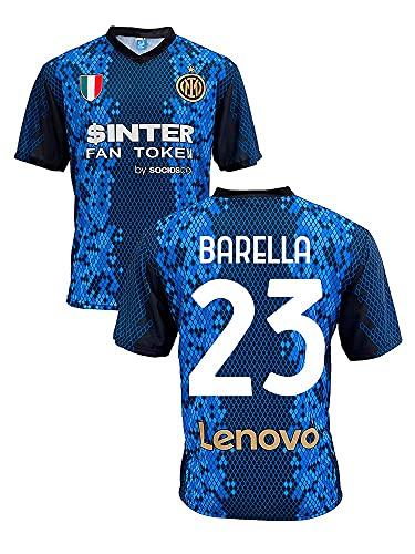 Maglia Inter Nicolo' Barella 23 Home 2021 2022 Replica Ufficiale (Taglia 2 4 6 8 10 12 Anni Bambino Ragazzo) (Taglia S M L XL XXL Adulto) Blu, Nero, Oro 100% Poliestere (XL)