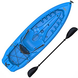 Kayak Paddle included Adjustable quick release seat back for comfort Tank well storage with bungee cord lacing to secure loose items Multiple Footrest positions for different size paddlers Center carry handle for easy Transport to waterfront