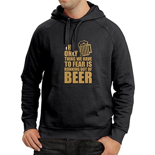 lepni.me Kapuzenpullover Um Angst zu haben, kein Bier zu haben - für Party, Hemden zu Trinken (Large Schwarz Gold)