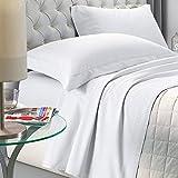 NuvolaNera Delux - Juego completo de sábanas de satén de algodón con fundas de almohada, efecto cambiante, 2 plazas, color blanco