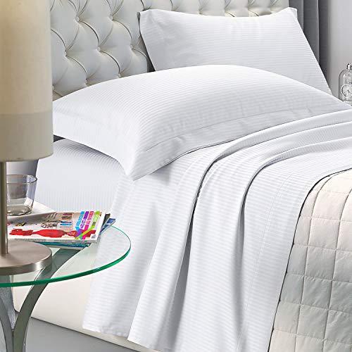 NuvolaNera Set completo lenzuola letto Delux in raso di cotone con federe – alta qualità effetto cangiante – 2 Piazze Matrimoniale - Bianco