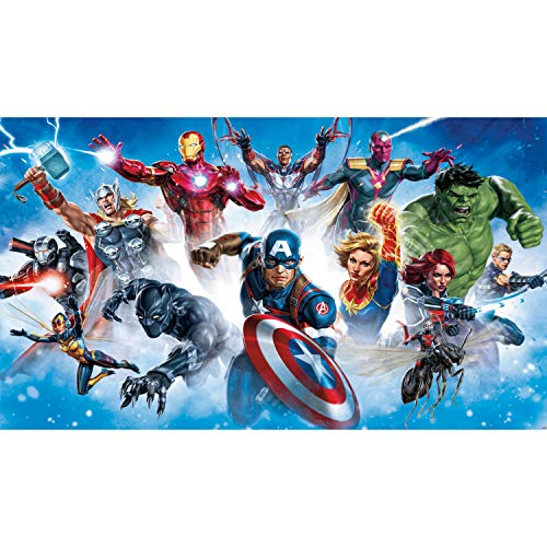 RoomMates Avenger Gallery Art Peel and Stick Wallpaper Mural | Removable | Blue & Red Wall Mural