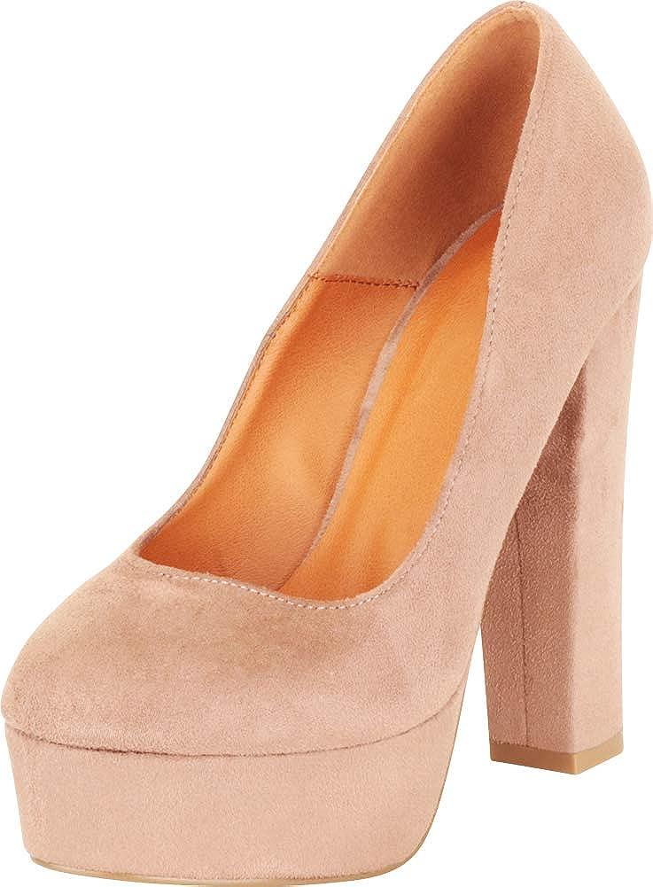 70s Shoes, Platforms, Boots, Heels | 1970s Shoes Cambridge Select Womens Retro 70s Slip-On Chunky Platform Extra High Block Heel Pump  AT vintagedancer.com
