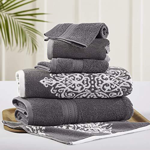 Amrapur Overseas | Artesia Damask 6 Piece Reversible Yarn Dyed Jacquard Towel Set (Platinum)