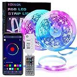 Tiras LED, HOVVIDA 20M Bluetooth Luces de Tiras LED 5050 RGB 12V para Habitación, Controladas por APP, IR Control Remoto y Controlador, 16 Milliones de Colores, 28 Estilos, Modo de Horario