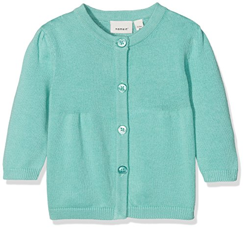 NAME IT NAME IT Baby-Mädchen NBFDEA LS Knit Card Sweatjacke, Grün (Pool Blue), 62