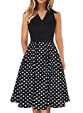 Fantaist Women Dress,Vintage Polka Dot Shirt Collar Button Casual Swing A-line Tea Party Dresses with Pockets (M, FT651-Black Dot)