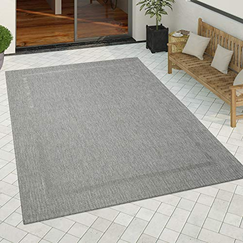 Paco Home In-& Outdoor Teppich Küchenteppich Einfarbiges Design Sisal Optik Bordüre Grau, Grösse:160x220 cm