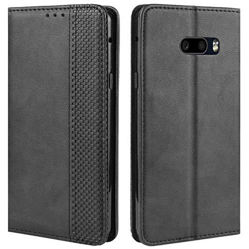 HualuBro Handyhülle für LG G8X ThinQ Hülle, LG V50S ThinQ Hülle, Retro Leder Stoßfest Klapphülle Schutzhülle Handytasche LederHülle Flip Hülle Cover für LG G8X ThinQ Tasche, Schwarz