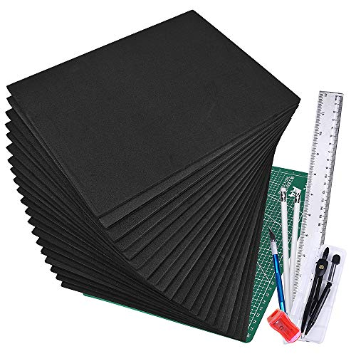 """Winlyn 20 Pcs EVA Foam Sheets 6mm Craft Foam Cosplay Foam 9"""" x 12"""" Black Foam Boards with Cutting Mat Compass Hobby Knife Ruler Pencils for Cosplay Boy Scouts Halloween Crafts Projects Cushion"""