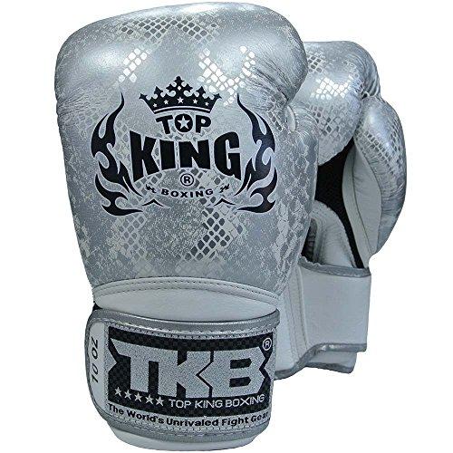 KINGTOP TOP King Boxhandschuhe, Python, weiß-Silber, Boxing Gloves, Muay Thai, Leder MMA Size 12 Oz