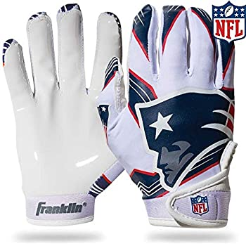 Franklin Sports New England Patriots Youth NFL Football Receiver Gloves - Receiver Gloves For Kids - NFL Team Logos and Silicone Palm - Youth M/L Pair
