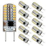 Reelco G8 LED Bulb Mini T4 Base Bi-pin 20W Halogen Xenon Replacement Light Bulb Dimmable 2.5Watt 6000K Daylight White 120V Under Counter Lights Puck Lights Kitchen Light (10 Pack)