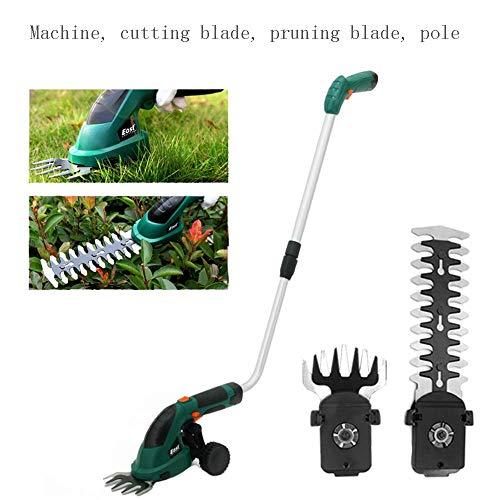7,2 V elektrische trimmer, 2-in-1 heggenschaar, grasmaaier, tuinman, verwisselbaar mes, telescopisch handvat en kleine wielbevestiging,C