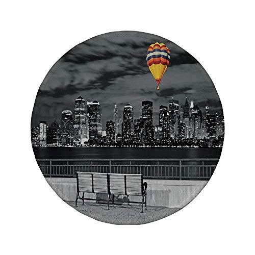 Rutschfreies Gummi-rundes Mauspad Schwarz-Weiß-Dekorationen NYC Skyline vom Liberty State Park Lebendiger Luftballon im Himmel mehrfarbig 7.9