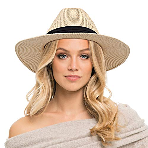 Womens Straw Hat, Sun Hat UV Protection Packable Wide Brim Summer Straw Panama Hat Beach Cap for Vacation Travel, Beige