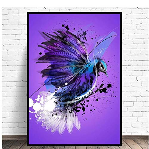 yhyxll Bluejay Canvas Wall Animal Abstract Art Print Cartel Moderno e Impresiones Imágenes de Pared Living Room Decor Print On Canvas-50X70Cm Sin Marco