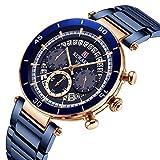 CXJC Reloj de cronógrafo deportivo for hombres, reloj de tres ojos y calendario de seis pines, reloj multifuncional luminous, reloj mecánico de hombres de acero inoxidable. (Color : Azul)