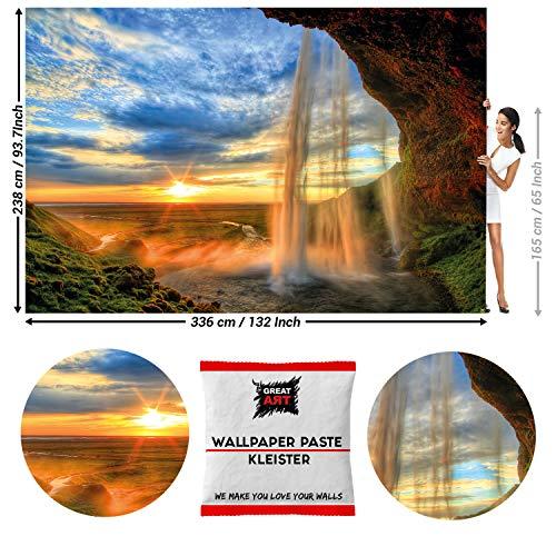 GREAT ART Fototapete Wasserfall bei Sonnenuntergang 336 x 238 cm – Felsen Landschaft Ruhe Yoga Fluss Quelle Romantisch Wandtapete Dekoration Wandbild – 8 Teile Tapete inklusive Kleister