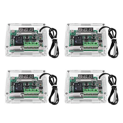 4 Stücke Digitaler Temperaturregler 12V DC W1209, Micro Digital Thermostat -50-110° C Elektronischer Temperaturregler Schalter mit Acrylgehäuse und wasserdichter NTC-Sonde