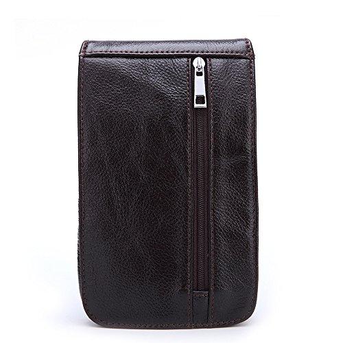 Gendi Hommes Sac en cuir véritable en cuir véritable Sac pour hommes Sac d'emballage EDC Camping Sac à bandoulière iPhone 6S Plus 5,5 pouces Étui pour téléphone cellulaire
