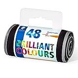 Staedtler 323 RU48 Fasermaler triplus color ergonomische Dreikantform, stabile Spitze, leicht auswaschbar, Rolletui mit 48 farblich sortierten malern, Strichbreite 1.0 mm