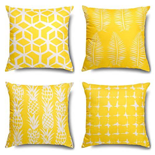 Artscope Geometrische Blätter und Ananas Kissenbezug, 4er Set Moderne Dekokissen Kissenhülle Kissen Fall für Sofa Auto Schlafzimmer 45x45cm Gelb