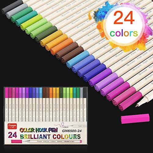 Baozun Filzstifte Fineliner Stifte 24 FarbenPigment Liner Set Feine Filzstifte 0.38mm Spitze, Ideal für Kalligraphie, zum Präzisionszeichnen, Schreiben, Malen für Erwachsene, Comics, Mang