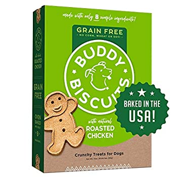 Buddy Biscuits Grain Free Dog Treats Made in USA Large Size with Healthy Natural Roasted Chicken 14 oz