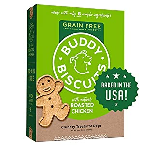Buddy Biscuits Grain Free Dog Treats Made in USA, Large Size with Healthy Natural Roasted Chicken 14 oz