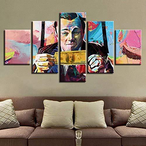FJNS 5 Pannelli Leonardo Dicaprio Il Grande Gatsby Modular Painting HD Photo Stampa su Tela di Canapa Wall Art Home Decor Poster,A,40x60x240x80x240x100x1