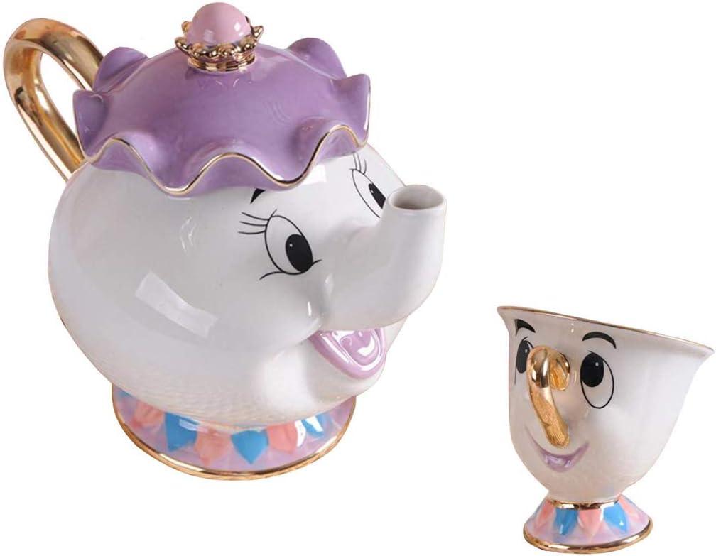 StMandy Beauty and The Best Tea Set Mrs Potts TeaPot and Chip Mug Sculpture ceramic Tea Set Figurilla