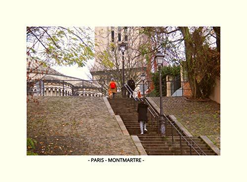 QUADRO C/VIDRO PARIS - MONTMARTRE II (MOLDURA BRANCA, IMAGEM COLORIDA)