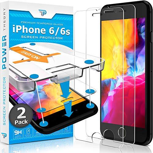 Power Theory Panzerglas für iPhone 6s/iPhone 6 [2 Stück] - Schutzfolie mit Schablone, Panzerglasfolie, Panzerfolie, Glas Folie, Displayschutzfolie, Schutzglas