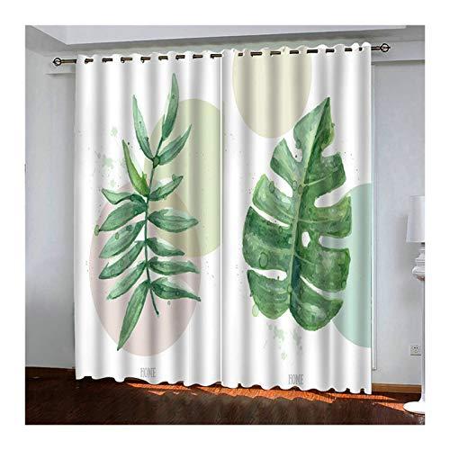 KnSam Tende Camera Finestra, Moderno Foglie di Foresta Pluviale Tropicale Tenda Poliestere, Verde, 2 Pannelli, Tende Camera 274x183 CM