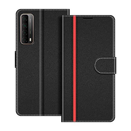 COODIO Handyhülle für Huawei P Smart 2021 Handy Hülle, Huawei P Smart 2021 Hülle Leder Handytasche für Huawei P Smart 2021 Klapphülle Tasche, Schwarz/Rot