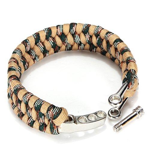 Dcolor 7 Strand Supervivencia Militar pulsera de la cuerda de la armadura de la hebilla - Caqui