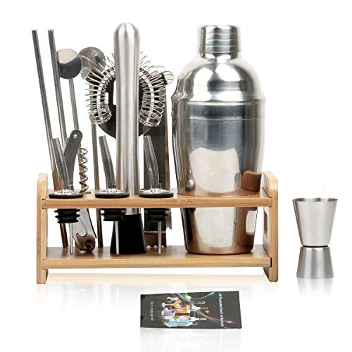 carinacoco Cocktail Shaker Cocktailshaker Set 15-Teiliges, Bar Zubehör Cocktailset Bar Set Cocktail Shaker Set Cocktail Mixer Edelstahl 550ML