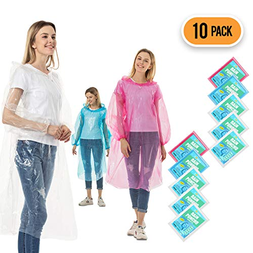 Rain Ponchos for Adults Disposable - 10 Pack Bulk Extra Thick Emergency Waterproof Rain Poncho with Drawstring Hood Raincoat for Men Women Plastic Clear Rain Gear for Disney Hiking Travel (Assorted)