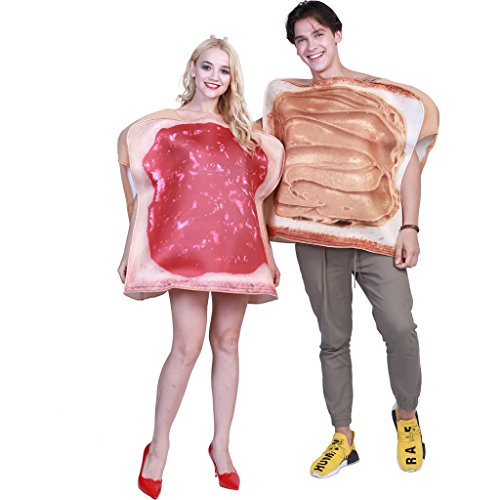EraSpooky Couples Peanut Butter and Jelly Costume Halloween Party Funny Food Fancy Dress