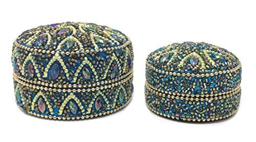 Marzoon 2-teiliges Perlendosen Set, Indische Schmuckdosen mit Perlen und Strasssteinen, Schmuckschachtel zur Deko und Aufbewahrung in 2 Größen Ø 7,5 und 5,5cm (Blau)