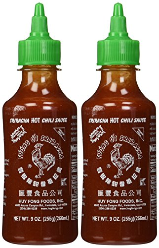 Huy Fong Sriracha Hot Chili Sauce 9 Ounce Bottle 2 Pack