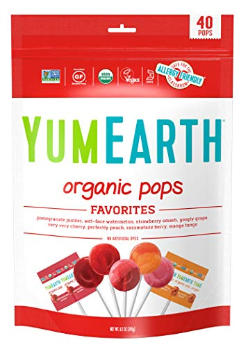 YumEarth Organic Lollipops, Assorted Flavors, 8.7 Ounce, 40 Lollipops - Allergy Friendly, Non GMO, Gluten Free, Vegan (Packaging May Vary)