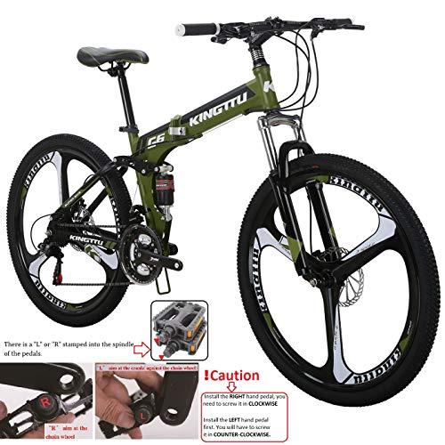 Kingttu KTG6 Mountain Bike 26 Inches 3 Spoke Wheels Dual Suspension Folding Bike 21 Speed MTB Army Green