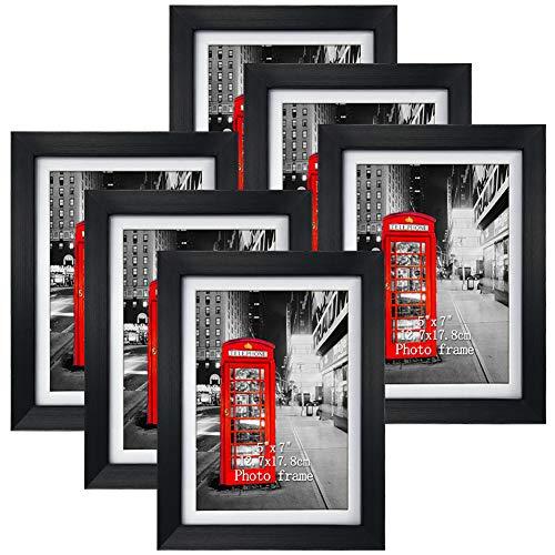 Amazon Brand - Eono Schwarze Bilderrahmen 13x18 cm mit Glas und weißem Passepartout, wandhängend oder freistehend, 6er Set