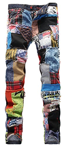 Allonly Men's Fashion Slim Fit Straight Leg colorful Patchwork Jeans Pants With Broken Holes,As Picture,33Wx32L(Tag 34)