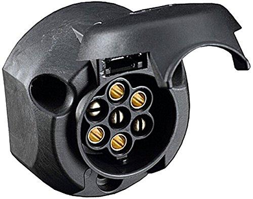 HELLA 8JB 001 943-001 Steckdose - 12V - 7-polig - Zinnbronze - Kunststoffgehäuse - schwarz - DIN/ISO: 1724 - Karton