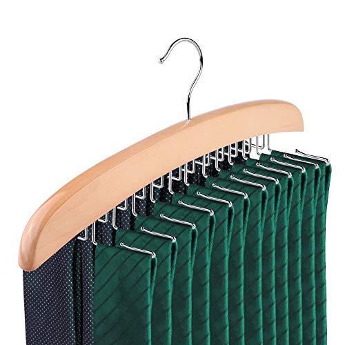 SunTrade Wooden Tie Hanger,24 Tie Organizer Rack Hanger Holder Hook (Beige, 24 hooks)